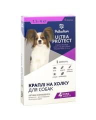Капли на холку Ultra  Protect от блох и клещей для собак весом 1,5-4 кг