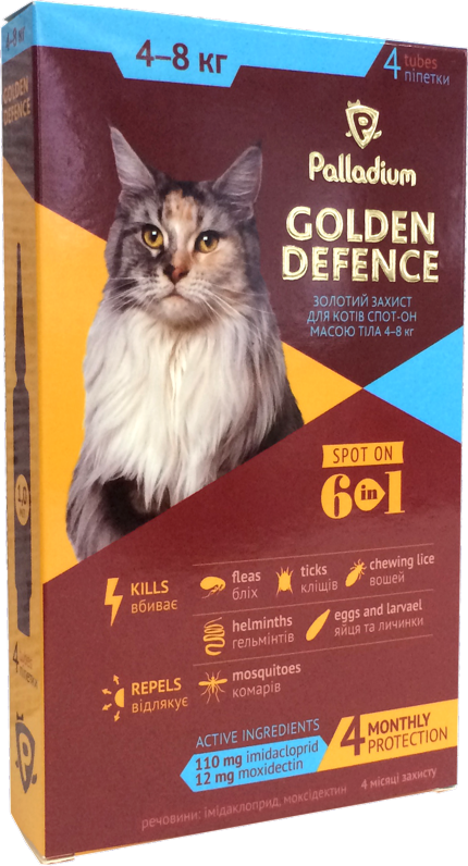 Капли на холку для кошек от блох, клещей и гельминтов Palladium Golden Defence