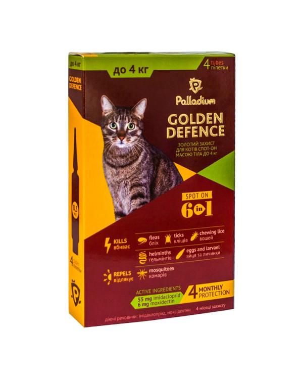 Palladium Капли на холку Golden Defence от паразитов для кошек весом ... 36107077ed855