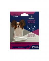 Капли на холку от блох и клещей Massive Action для собак весом 1,5-4 кг