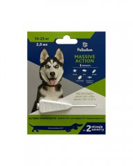 Капли на холку от блох и клещей Massive Action для собак весом 10-25 кг