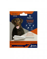 Капли на холку от блох и клещей Massive Action для собак весом 25-40 кг