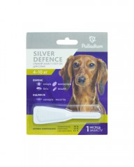 Капли на холку Silver Defence от блох, клещей и комаров для собак весом 4-10 кг