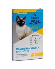 Капли на холку Ultra Protect от блох и клещей для кошек весом до 4 кг
