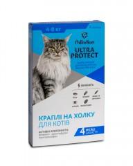 Капли на холку Ultra Protect от блох и клещей для кошек весом 4-8 кг