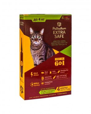 Капли на холку Palladium Extra Safe для кошек до 4 кг
